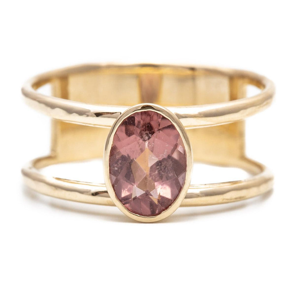 Mauve Tourmaline Double Band Ring