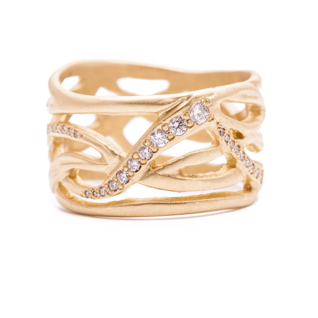 Wide Twisted Vine Ring