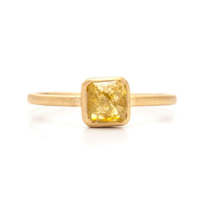 Citrusy Yellow Square Rose-cut Ring