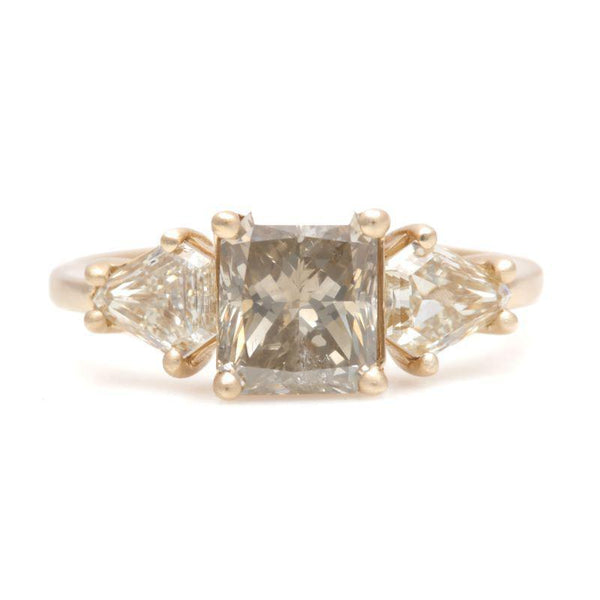 Radiant And Shield Diamond Prong Ring