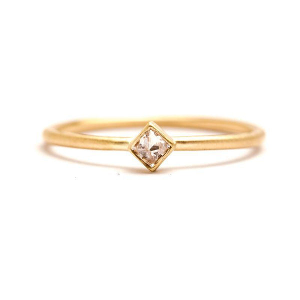 Inverted Square Diamond Stacking Ring