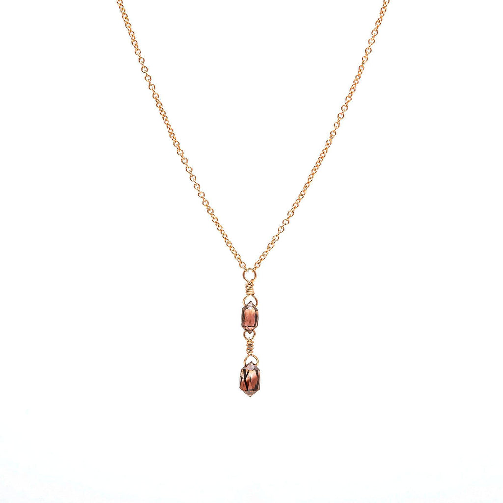 Double Red Diamond Bullet Necklace