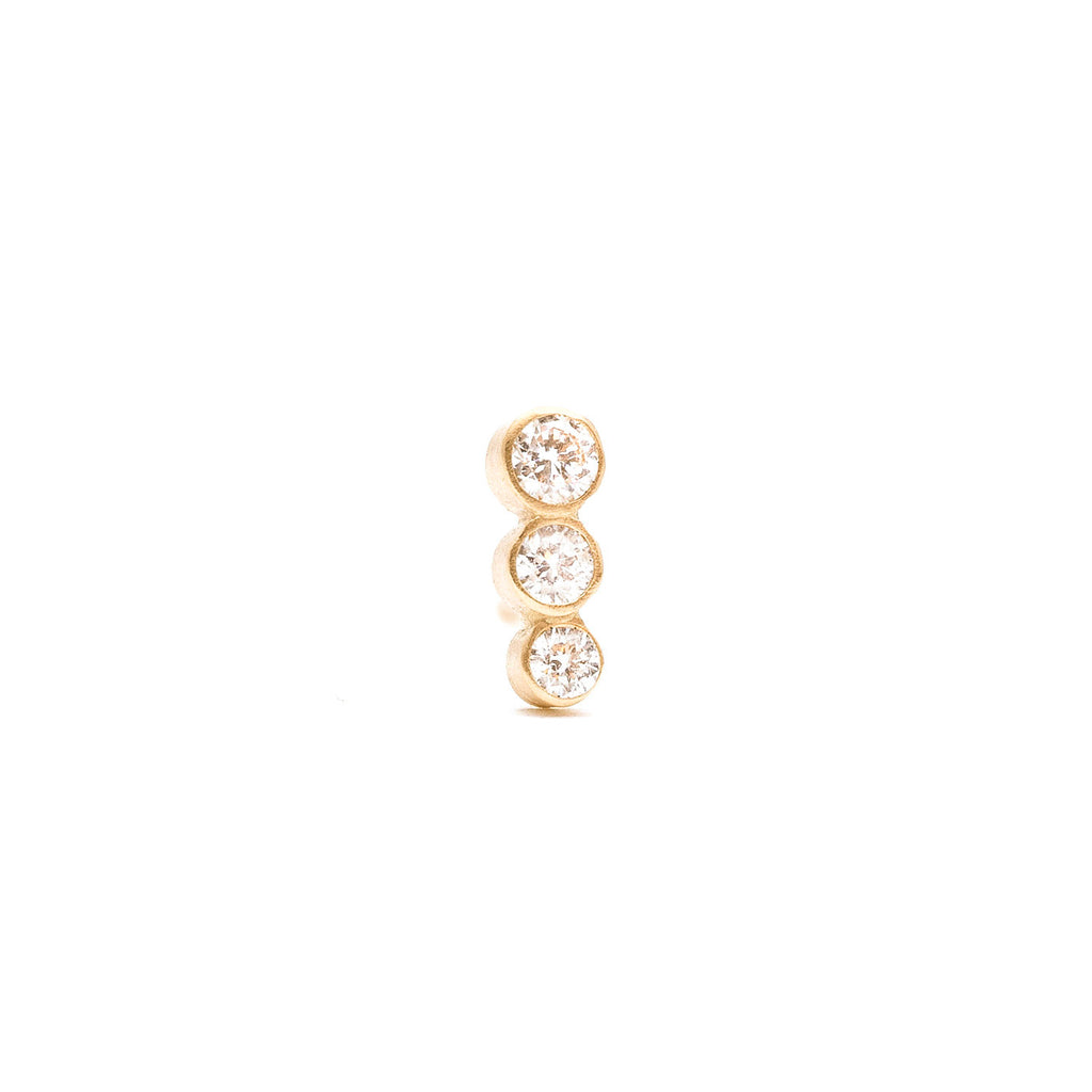 Triple Diamond Studs (Single)