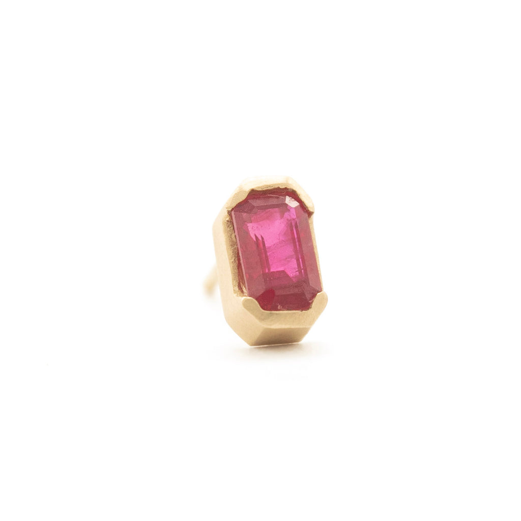Emerald Cut Ruby Studs (single)