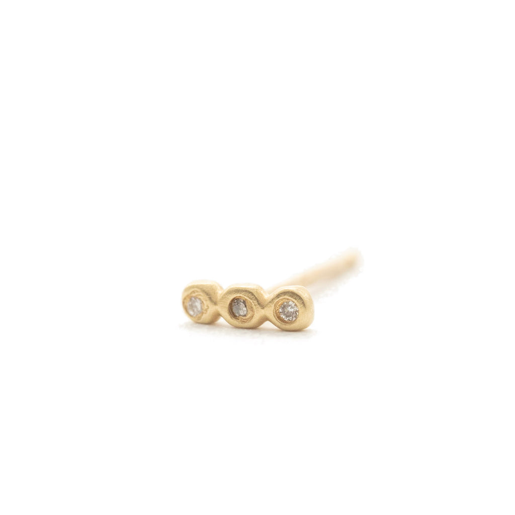 Tiny Triple Diamond Bubble Studs (single)