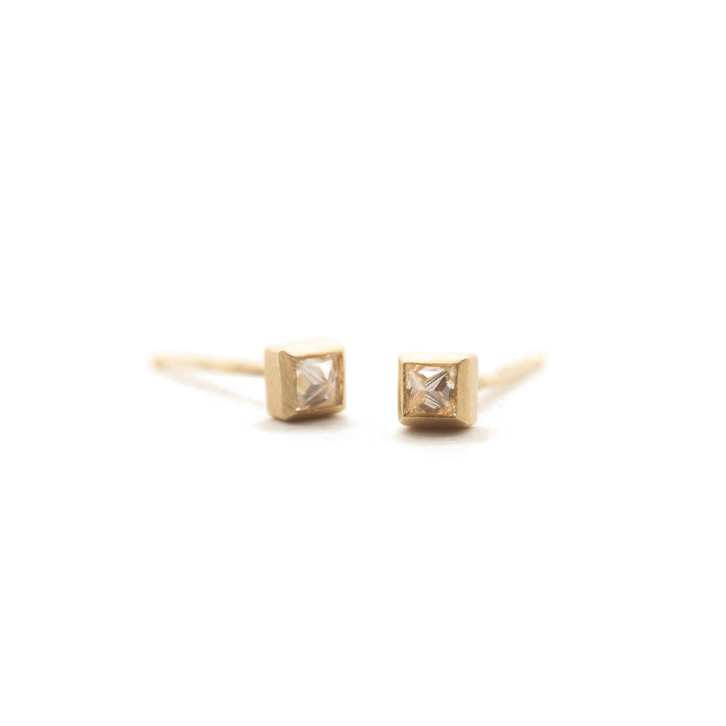 Inverted Princess Cut Diamond Studs