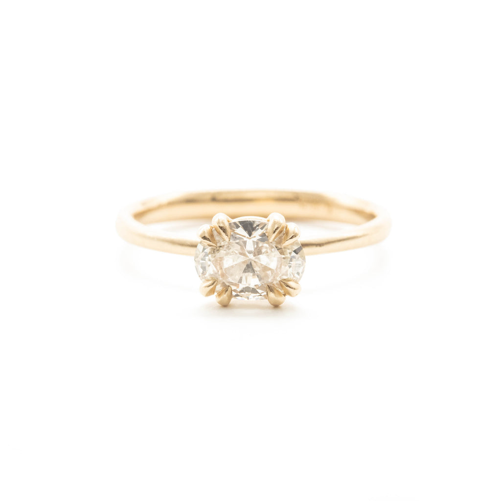 East - West Oval Diamond Double Prong Ring