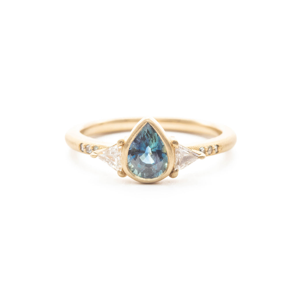 Ceylon Pear Sapphire Trillion Diamond Ring