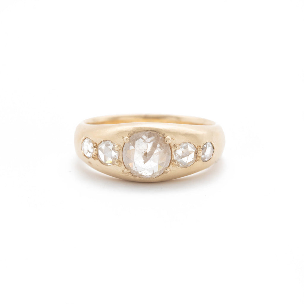 Five Diamond Tapered Ring