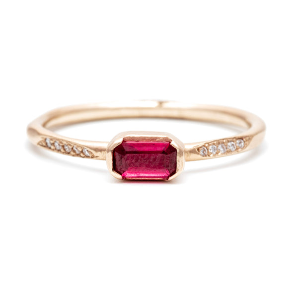 Emerald cut Ruby Pavé Ring