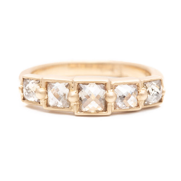 Princess Cut Champagne Diamond Grill Ring