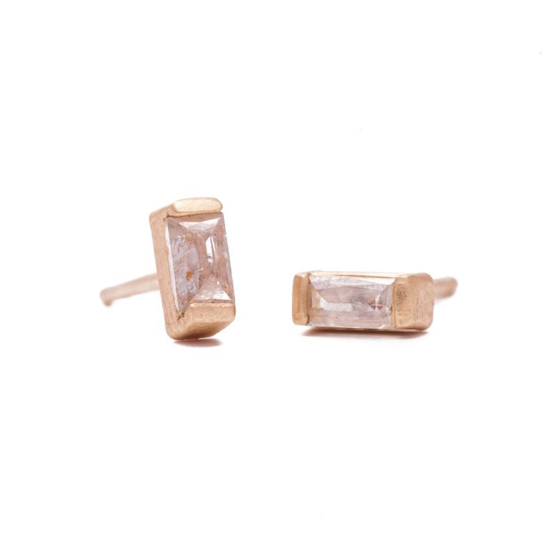 Tiny Rose Cut Baguette Diamond Studs