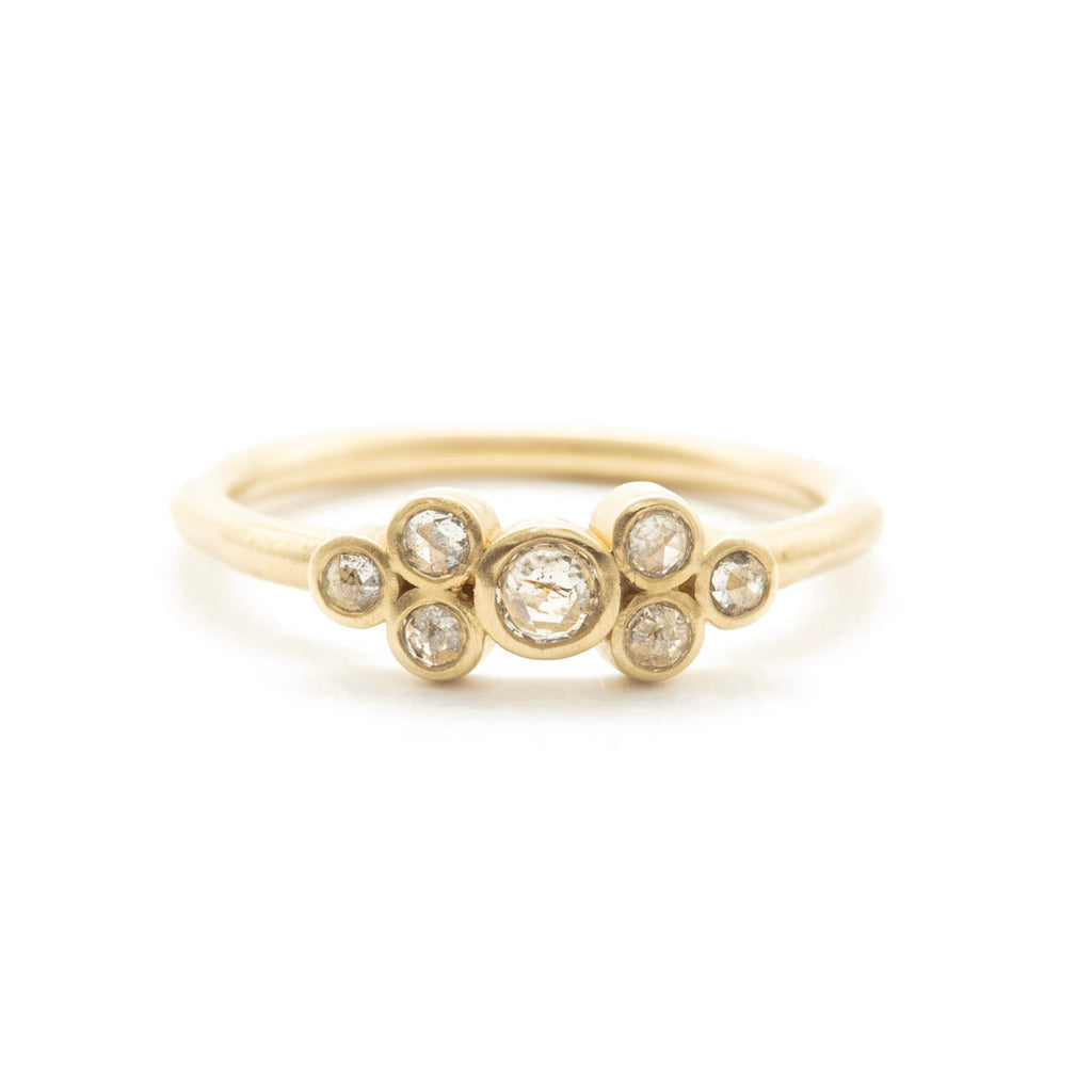 Petite Rose Cut Cluster Clover Diamond Ring