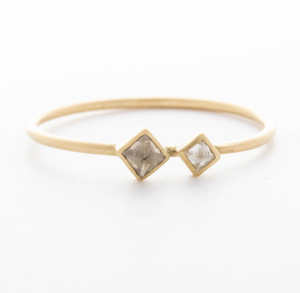 Double Inverted Square Diamond Ring
