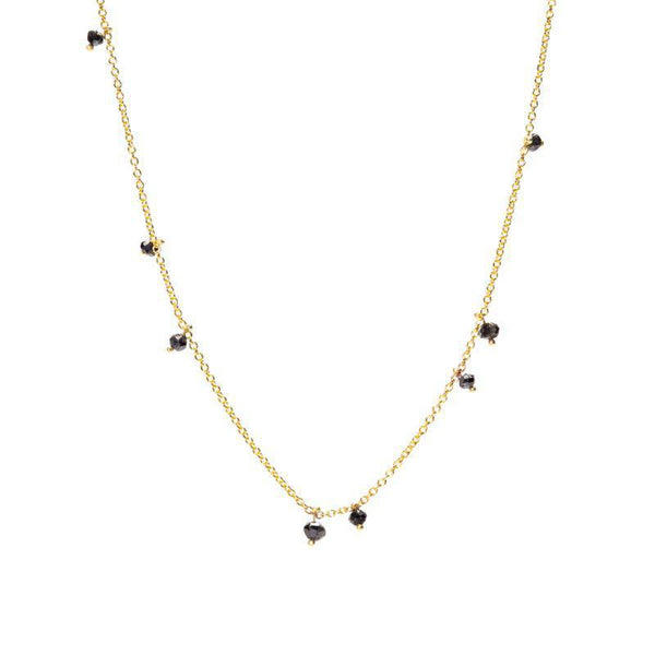 Random Black Diamond Rondelle Necklace