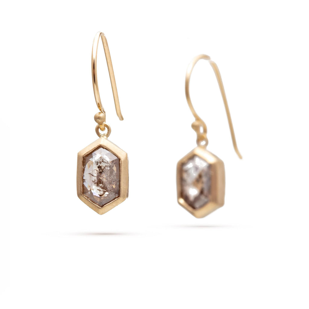 Elongated Hexagon Diamond Earrings