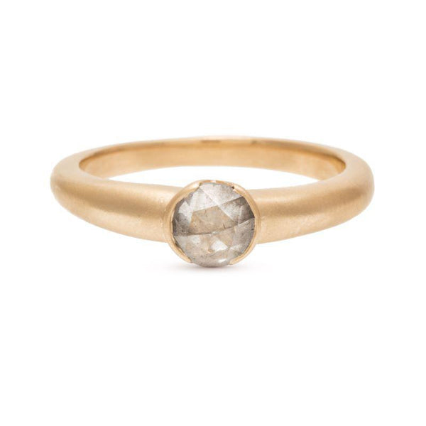 Rounded Smooth Half Bezel Diamond Ring