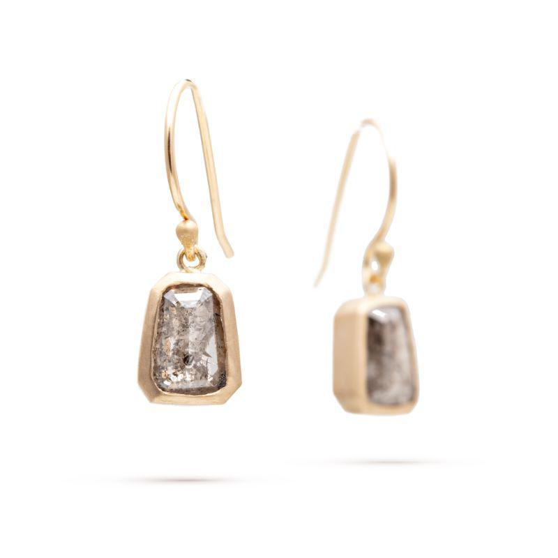 Rose Cut Diamond Trapezoid Earrings