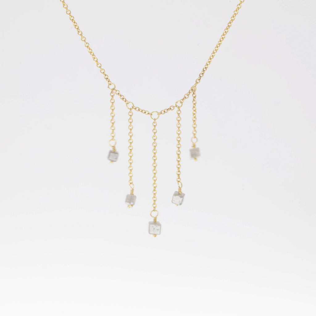 Falling Diamond Square Necklace