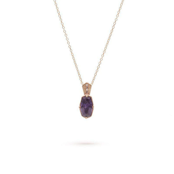 Deep Purple Sapphire Coffin Cut Necklace