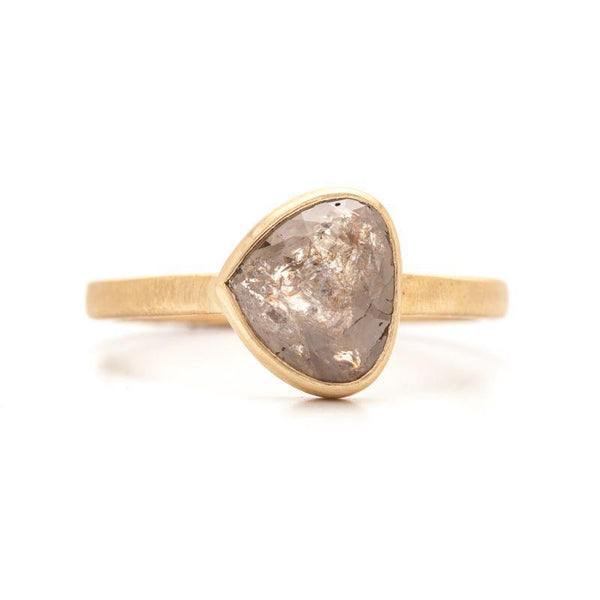 Grey Rose-Cut Side Pear Ring, Rose Cut Diamond, 14K Yellow 6.25