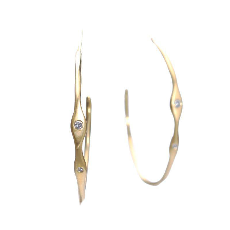 Diamond Side Hoops, Yellow Gold
