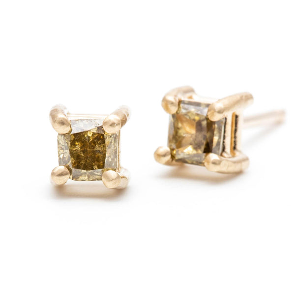 Princess Cut Green Diamond Studs