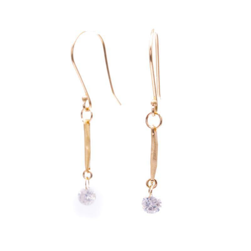 Drilled Diamond Water Stick Earrings