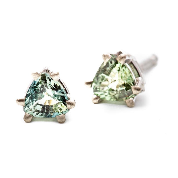 Double Prong Green Sapphire Trillion Studs