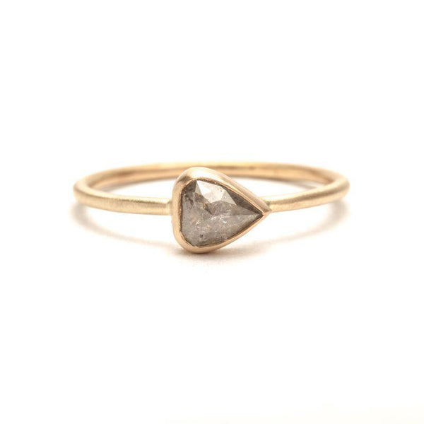 Light Grey Pear Rose-Cut Diamond Ring