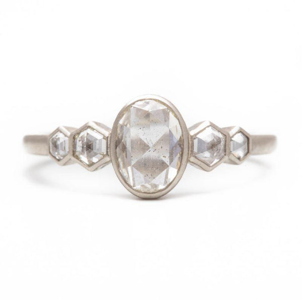 Oval Hexagon Rose Cut Diamond Ring