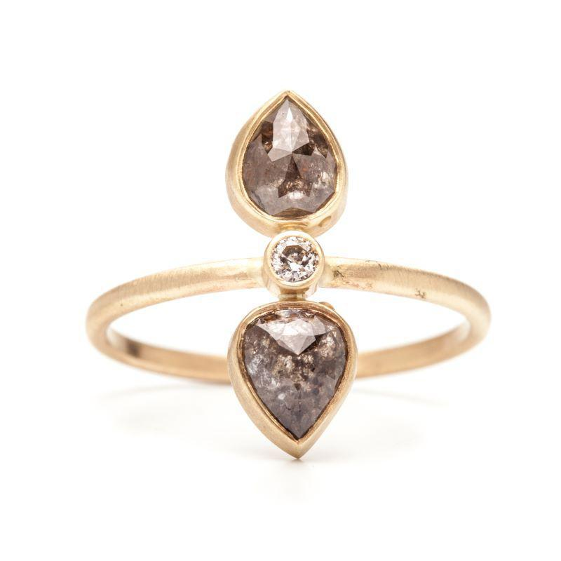 Double Diamond Pear Rose Cut Ring