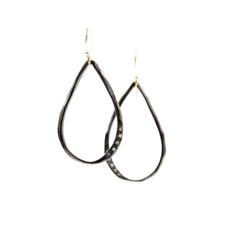 Open Teardrop Earrings, Two-Tone
