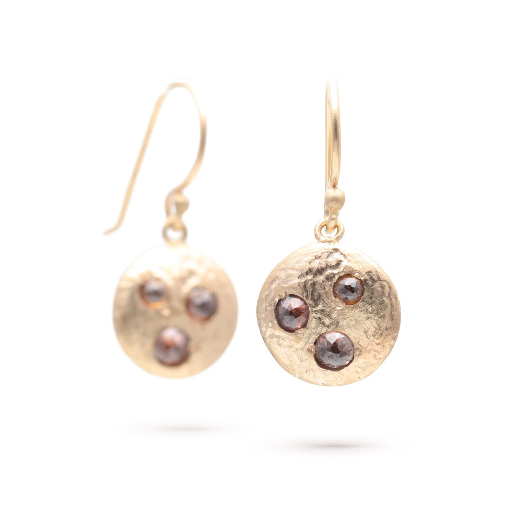 Rose-cut Diamond Disc Earrings