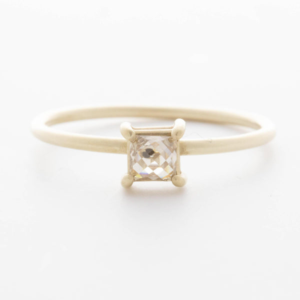 Light Champagne Square Rose Cut Ring