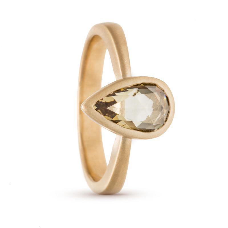 Bridged Rose-cut Pear Diamond Ring