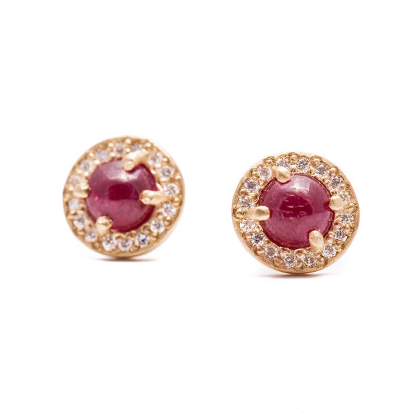 Ruby Cabochon Halo Stud Earrings
