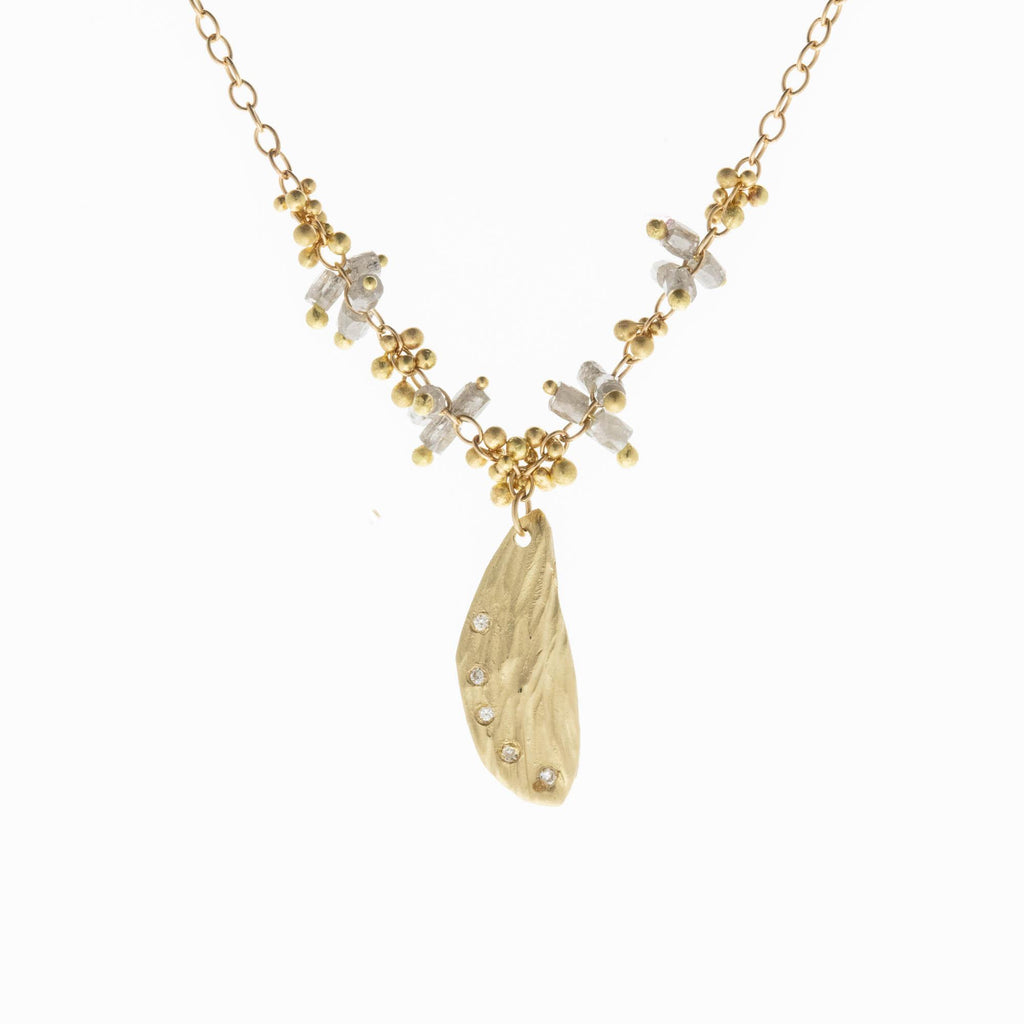 Diamond Studded Wing Necklace