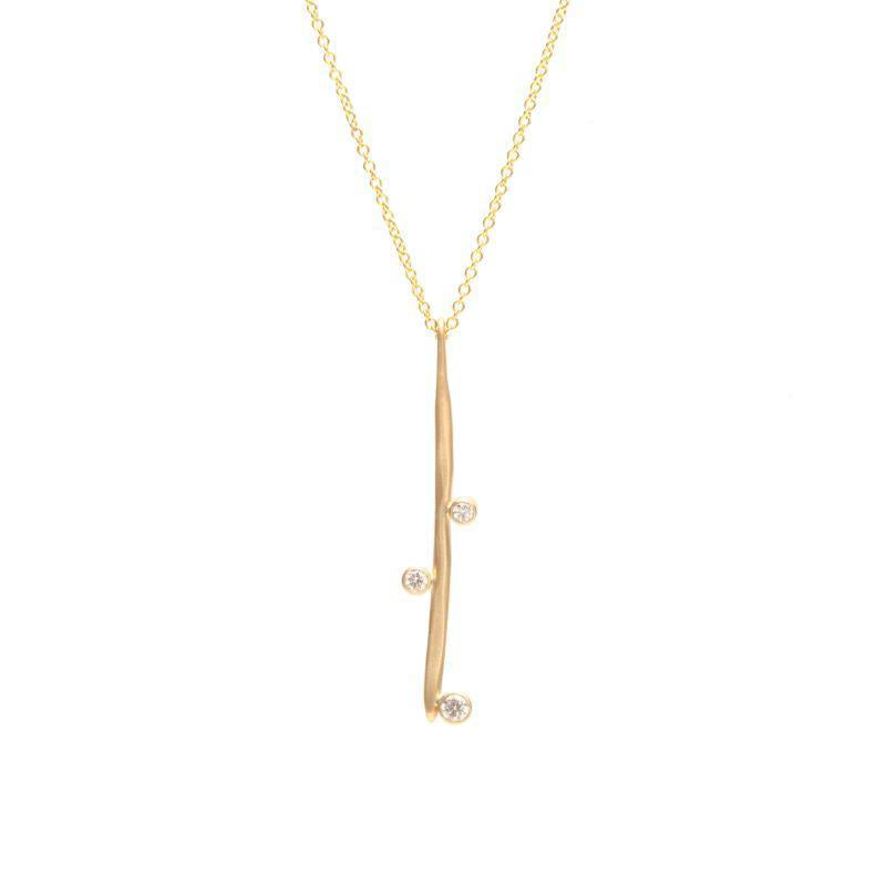 Gold Diamond Stick Necklace