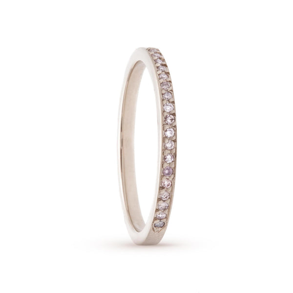 Tiny Light Pink Pavé Diamond Ring