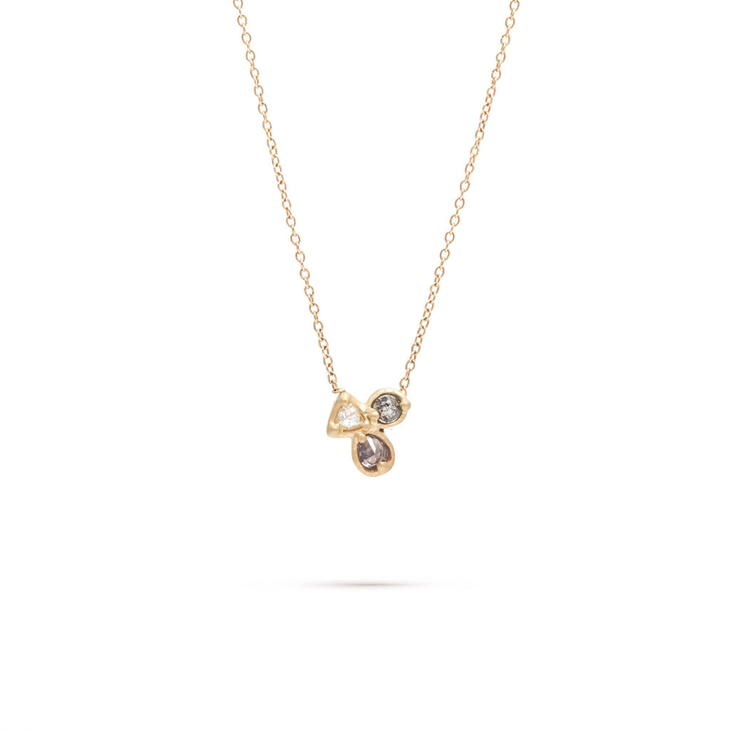 Triple Clustered Diamond Necklace