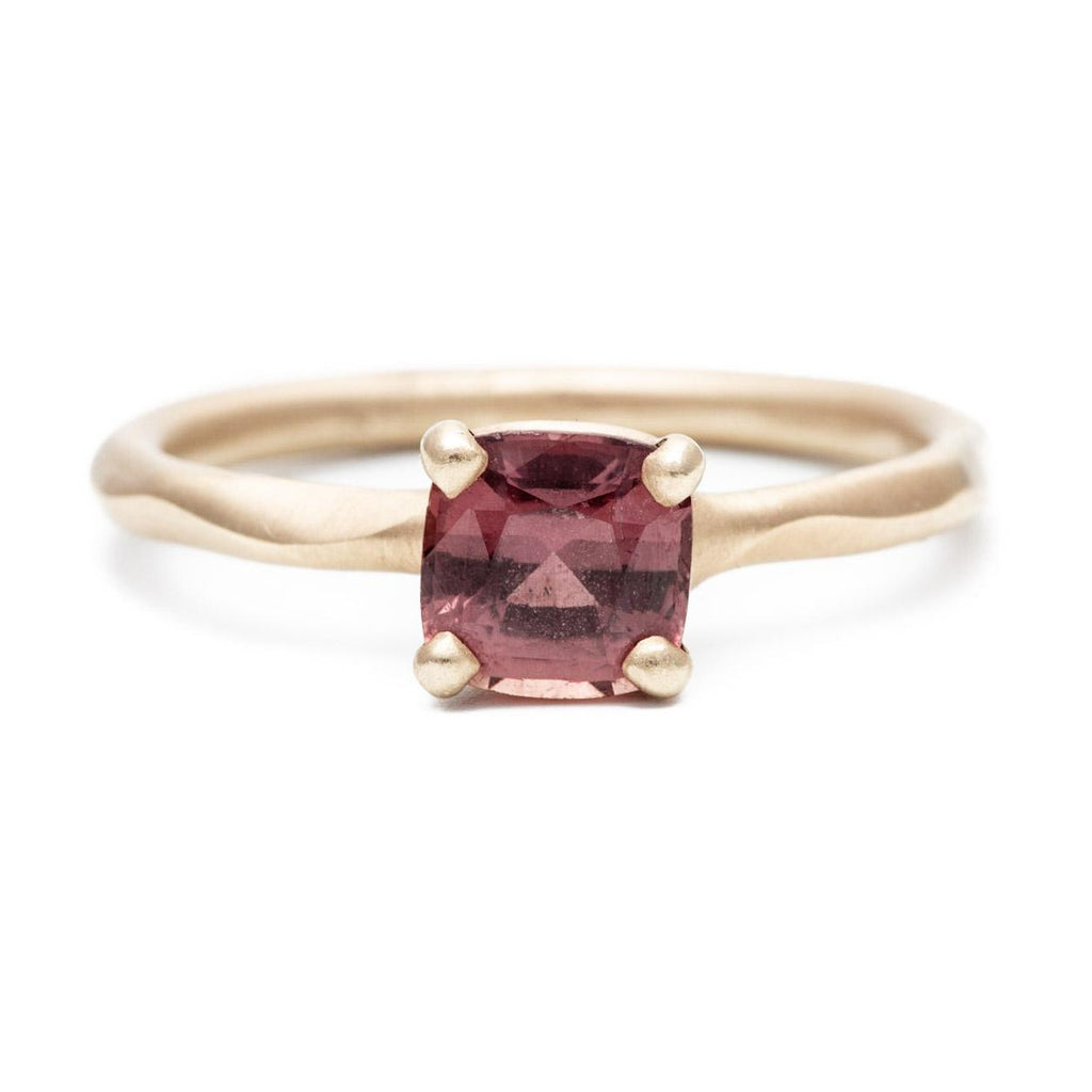 Deep Red Cushion Cut Sapphire Ring