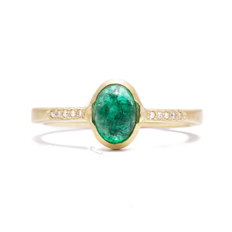 Antique Emerald and Pavé Ring