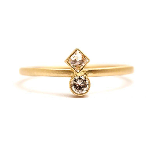 Round And Square Diamond Duo Ring