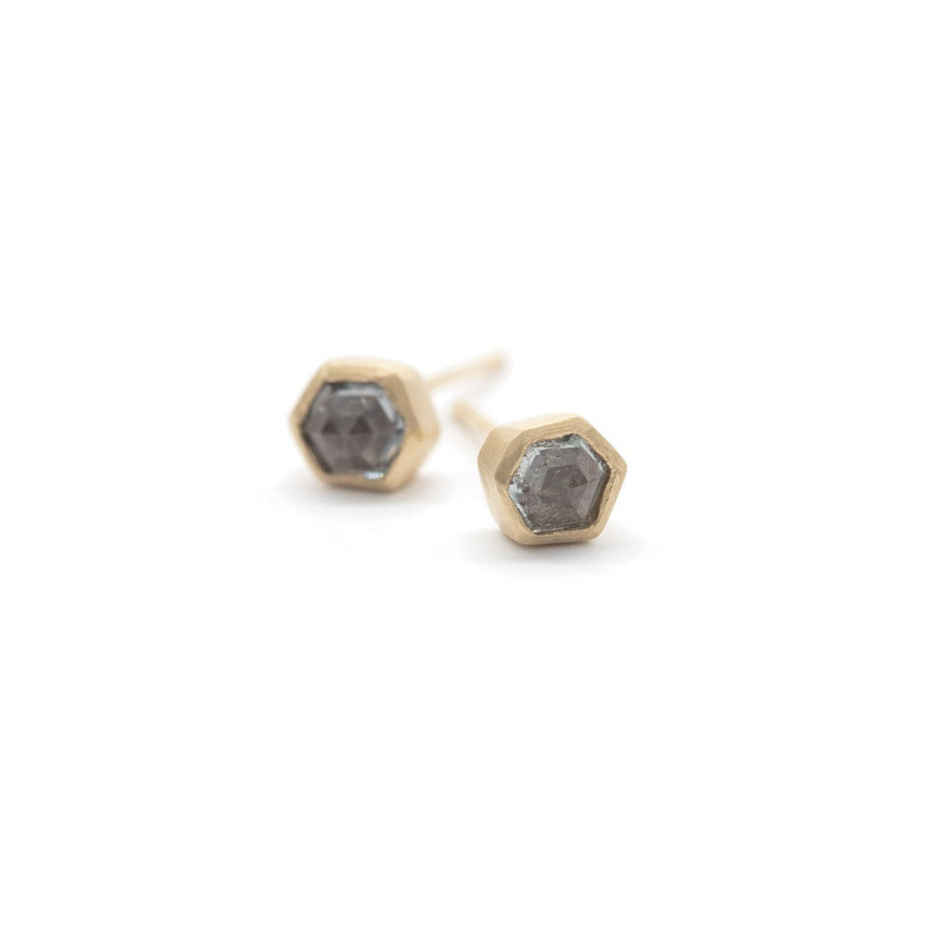 Steel Blue Hexagon Spinel Studs
