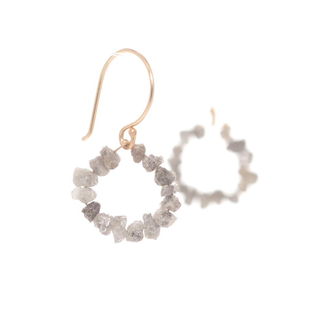 Raw Diamond Circle Earrings