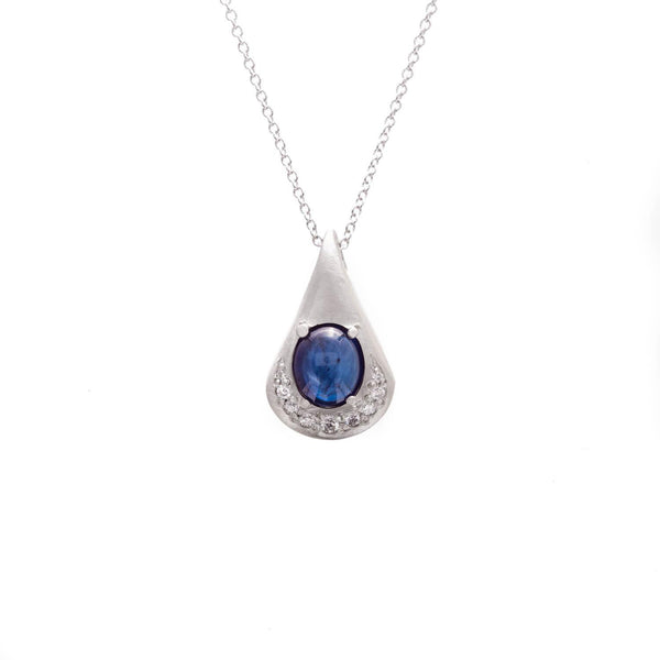 Vintage Sapphire Cabochon Waterdrop Necklace
