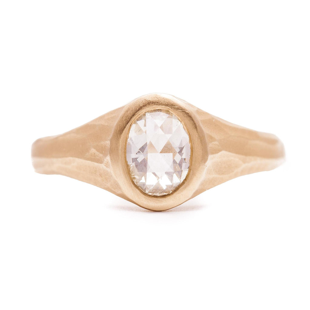 White Rose Cut Oval Diamond Stream Ring