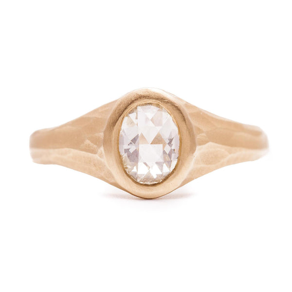 White Oval Rose-cut Stream Ring