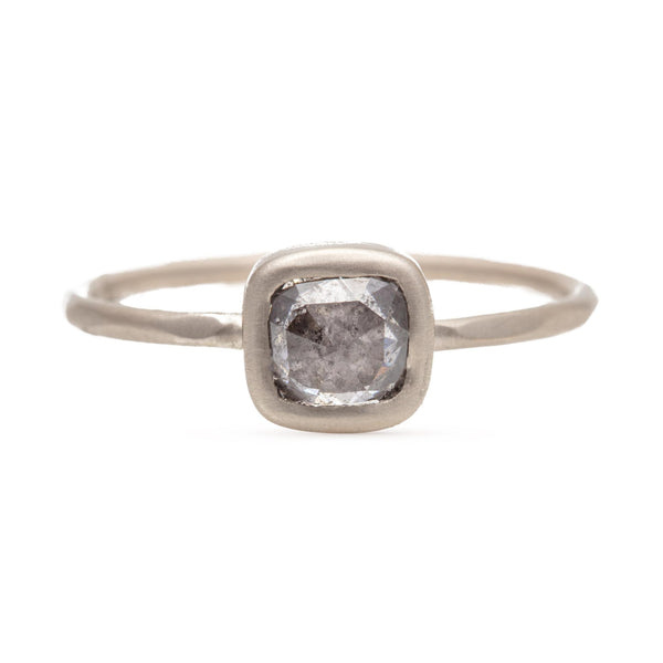 Speckled Grey Cushion Cut Diamond Ring